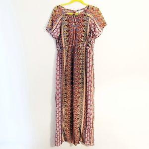 Patrons of Peace Boho Geometric Chevron Maxi Dress